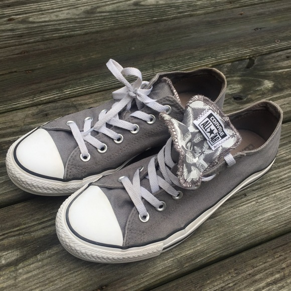 Converse Shoes - Women's gray converse with double tongue design
